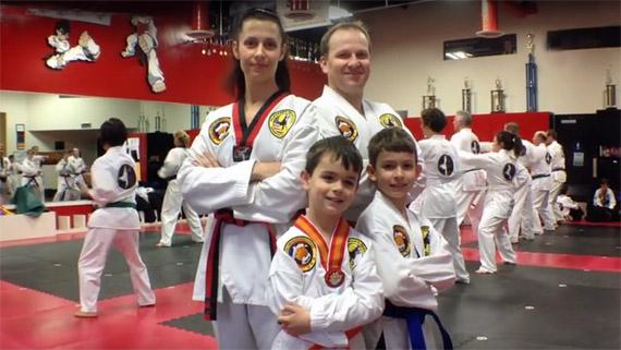 family taekwondo in dojang