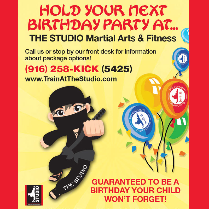 kids ninja birthday party flyer