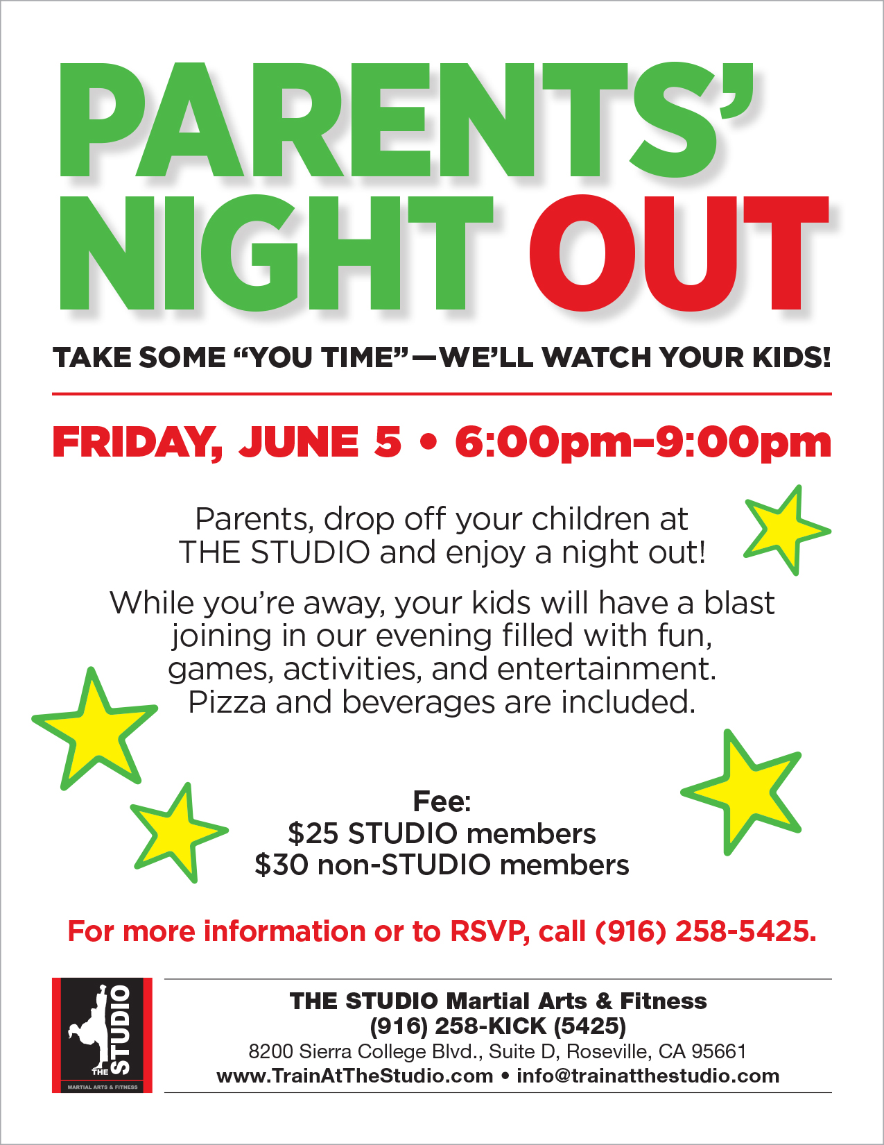 June 5 Parents Night Out The Studio Martial Arts Amp Fitness