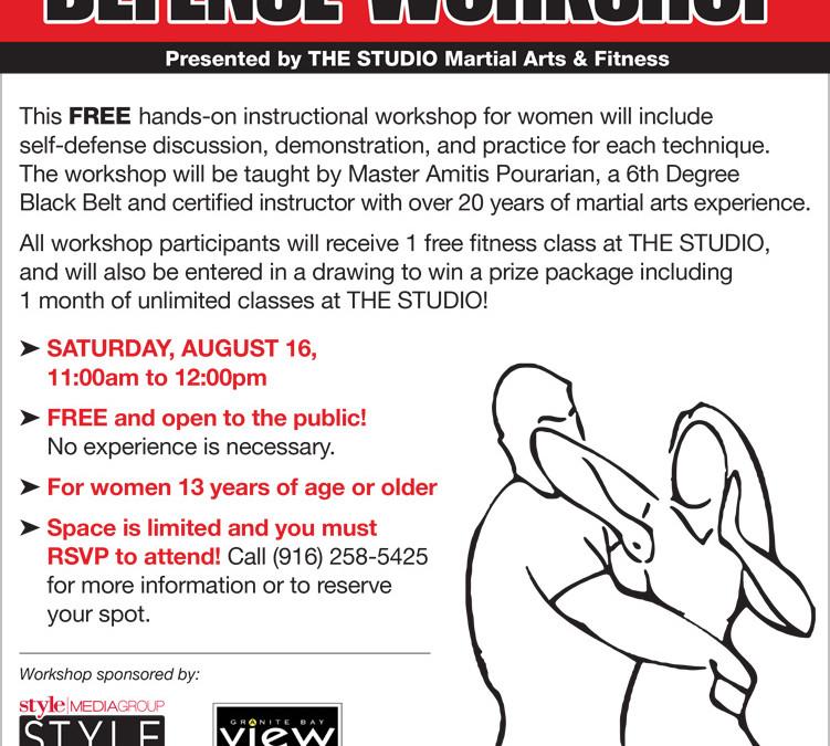FREE Women's Self-Defense Workshop, August 16, Open to the Public!