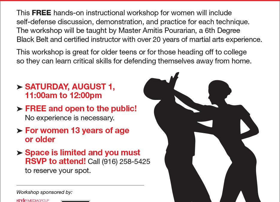 August 1: FREE Women's Self Defense Workshop
