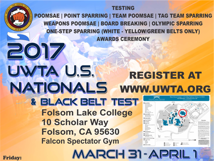 March 31 – April 1: UWTA U.S. Nationals & Black Belt Test