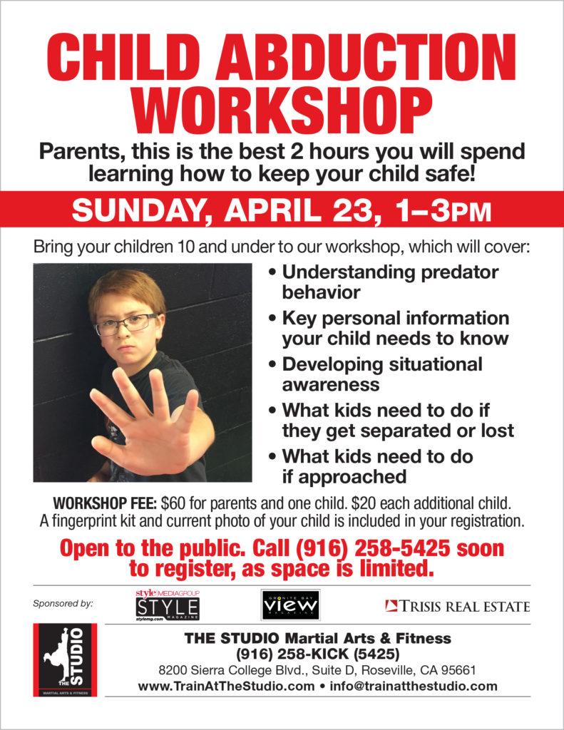 April 23 Child Abduction Prevention Workshop The Studio