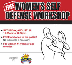 August 26: FREE Women's Self Defense Workshop